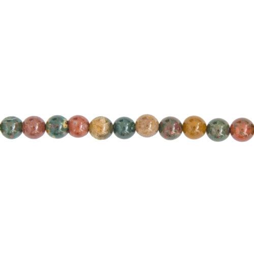 fil jaspe héliotrope pierres boules 6mm