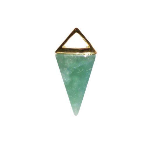 Aventurine Pendant - Gold Pyramid