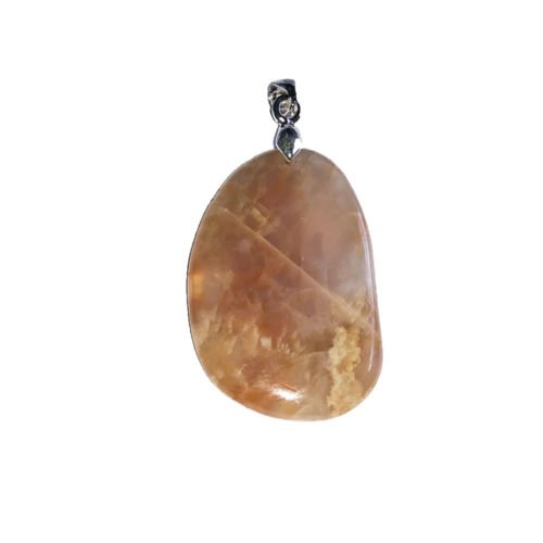 Orange Moonstone Pendant - Flat Stone