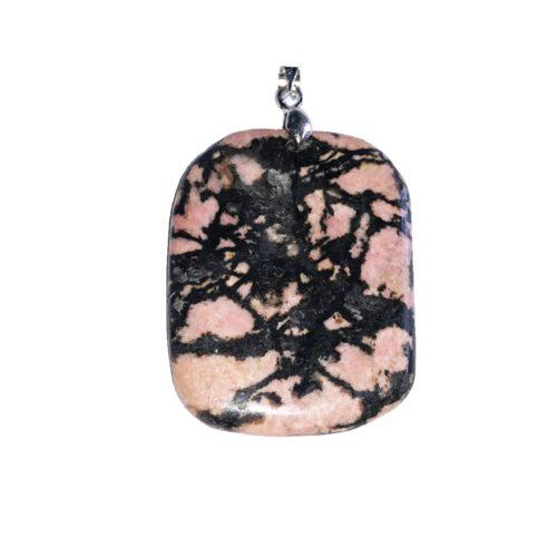 pendentif rhodonite pierre plate