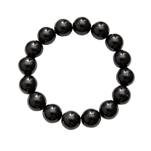 Black Agate Bracelet - 12 mm Bead