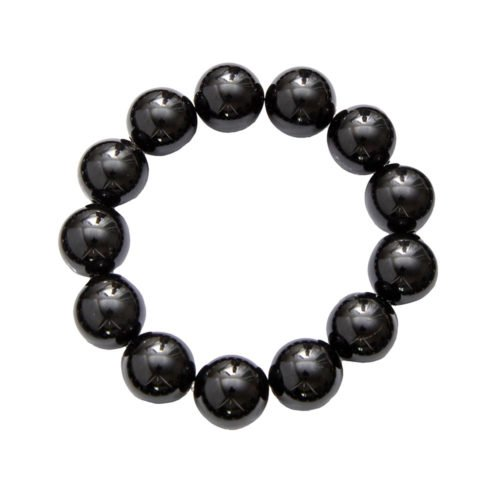 Black Agate Bracelet - 14 mm Bead