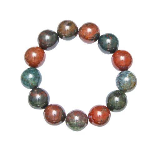 bracelet jaspe héliotrope pierres boules 14mm