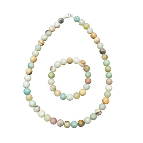 parure amazonite multicolore pierres boules 10mm
