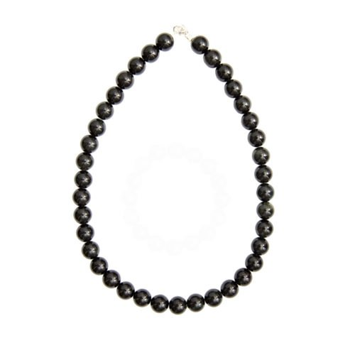 Black Agate Necklace - 12 mm Bead