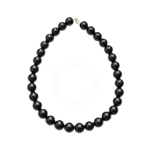 Black Agate Necklace - 14 mm Bead
