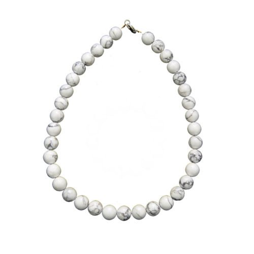 Howlite Necklace - 12 mm Bead