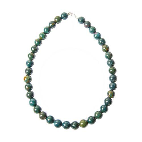 Heliotrope Jasper Necklace - 12 mm Bead