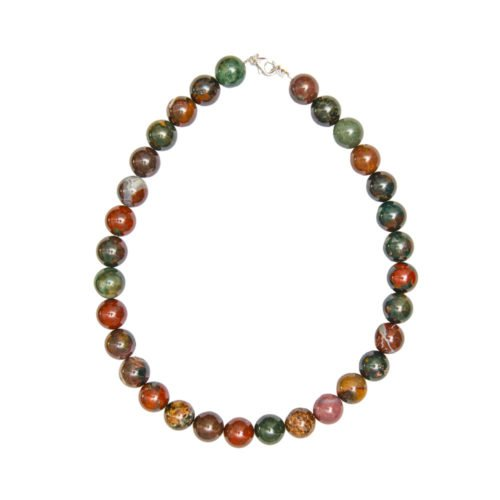 Heliotrope Jasper Necklace - 14 mm Bead