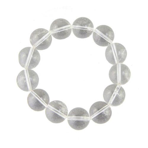 bracelet cristal de roche pierres boules 14mm