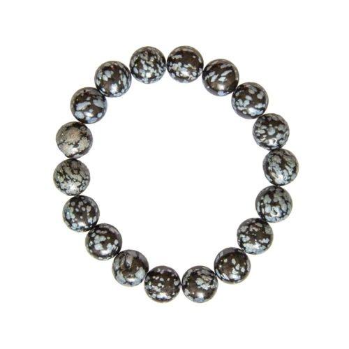 Snowflake Obsidian Bracelet - 10 mm Bead