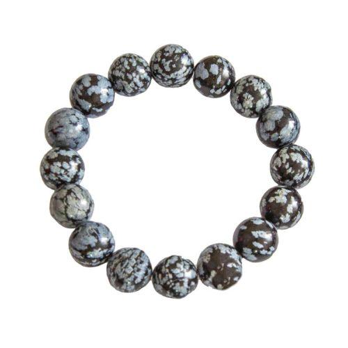 Snowflake Obsidian Bracelet - 12 mm Bead