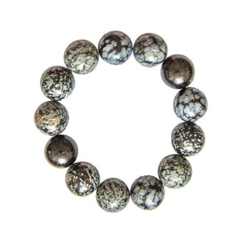 Snowflake Obsidian Bracelet - 14 mm Bead