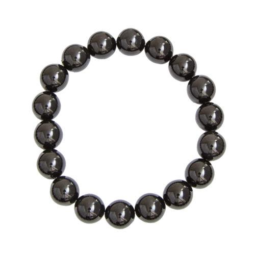 bracelet obsidienne noire pierres boules 10mm