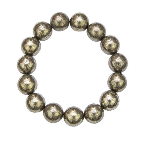bracelet pyrite de fer pierres boules 12mm