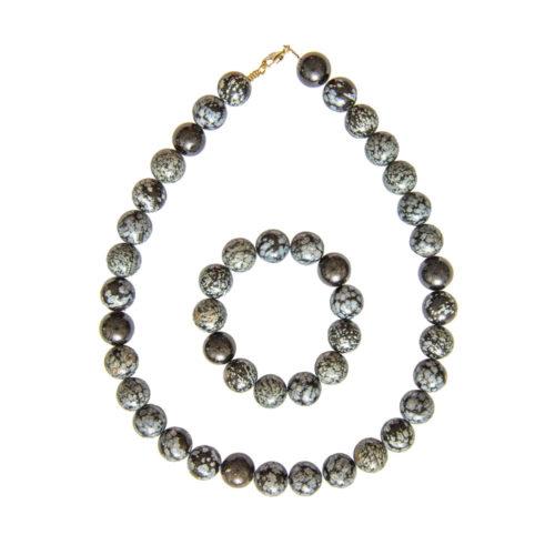Snowflake Obsidian Gift Set - 14 mm Bead