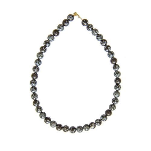 Snowflake Obsidian Necklace - 10 mm Bead