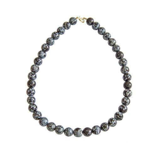 collier obsidienne flocon de neige pierres boules 12mm