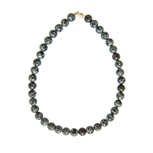 Snowflake Obsidian Necklace - 12 mm Bead