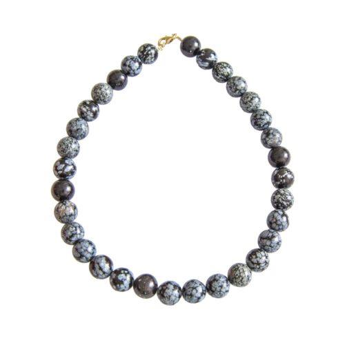 collier obsidienne neige pierres boules 14mm