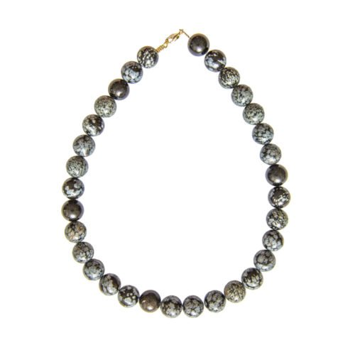 Snowflake Obsidian Necklace - 14 mm Bead