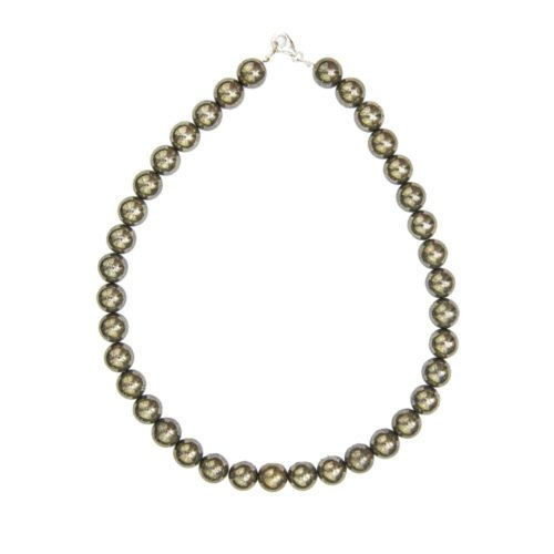 Iron Pyrite Necklace - 12 mm Bead
