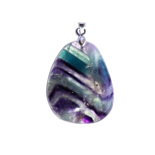 Multicoloured Fluorite Pendant - Flat Stone