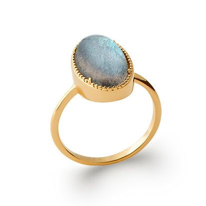 Labradorite 'Judith' Ring - Gold Plated 750