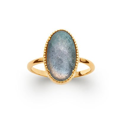 Labradorite 'Judith' Ring - Gold Plated 750