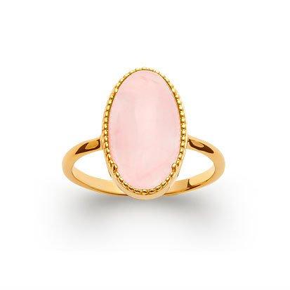 bague quartz rose plaqué or 750