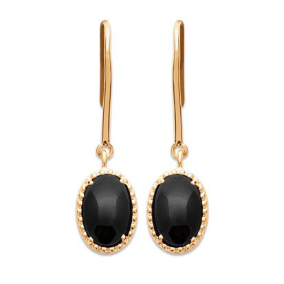 Black Agate 'Alexandra' Earrings - Gold Plated 750