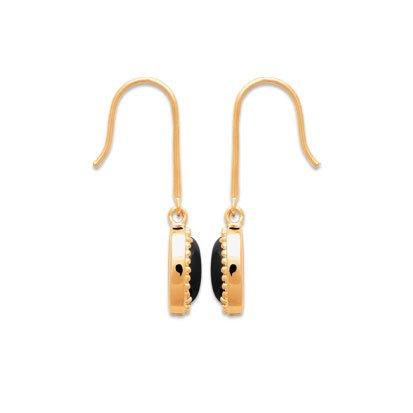 Black Agate 'Alexandra' Earrings - Gold Plated 750
