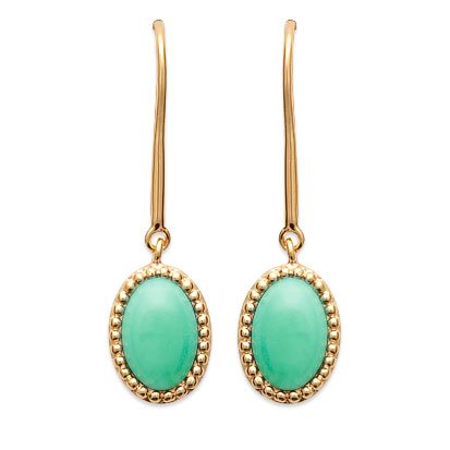 Aventurine 'Alexandra' Earrings - Gold Plated 750