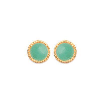 Aventurine 'Constantine' Earrings - Gold Plated 750