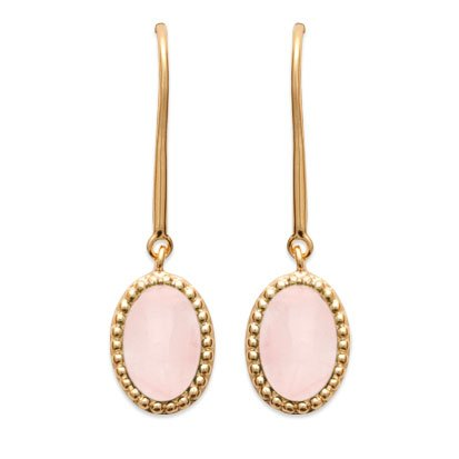 Rose Quartz 'Alexandra' Earrings - Gold Plated 750