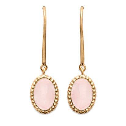 Rose Quartz 'Alexandra' Earrings - Gold Plated 750