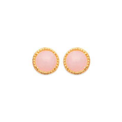 Rose Quartz 'Constantine' Earrings - Gold Plated 750