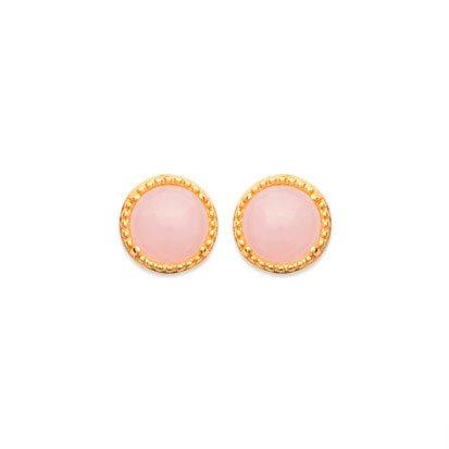 Rose Quartz 'Constantine' Earrings - Gold Plated 750