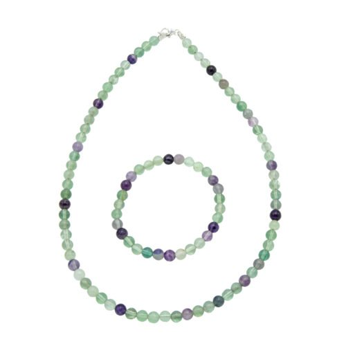 coffret fluorite multicolore pierres boules 6mm
