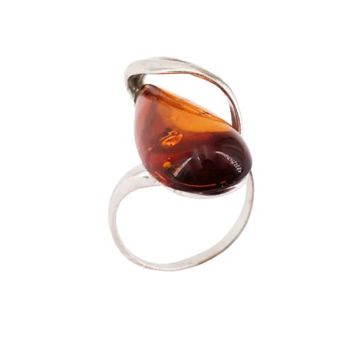colombe amber 925 silver ring