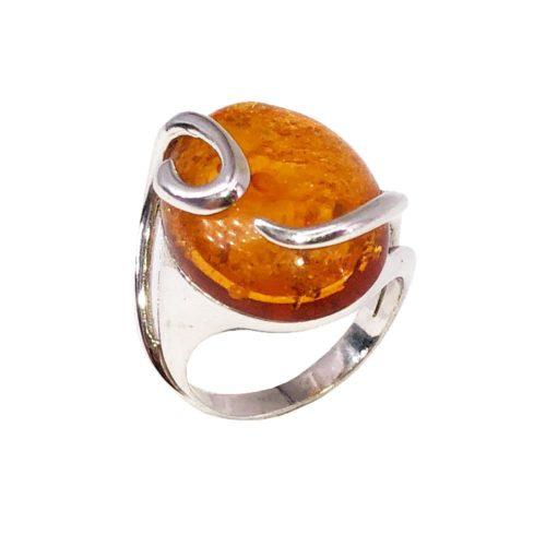 """Océane"" Amber Ring - 925 Silver"