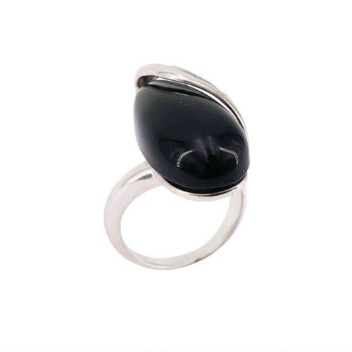 black onyx 925 silver ring