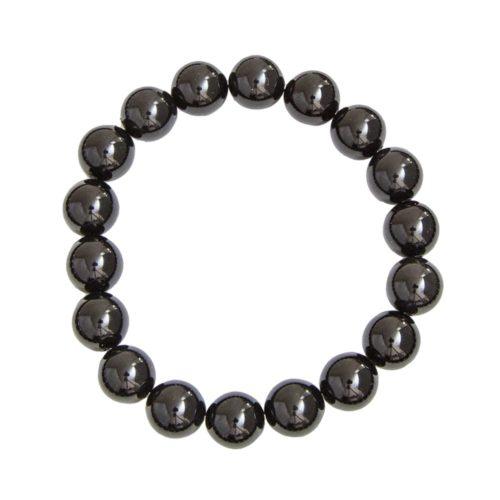 bracelet onyx pierres boules 10mm