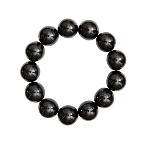 bracelet onyx pierres boules 14mm