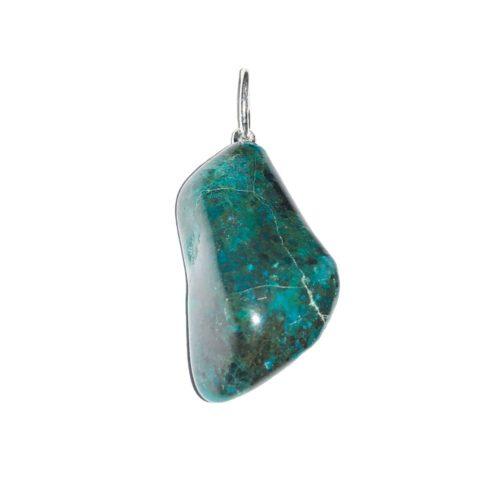 pendentif chrysocolle foncée pierre roulée