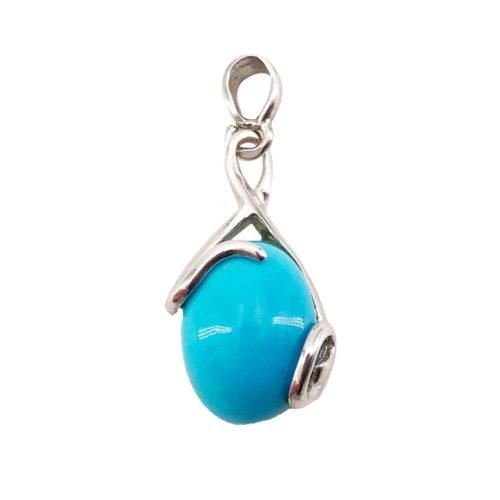 pendentif turquoise océane argent rhodié