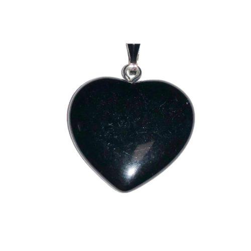 pendentif agate noire coeur