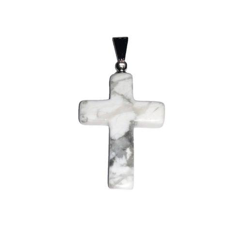 pendentif howlite croix