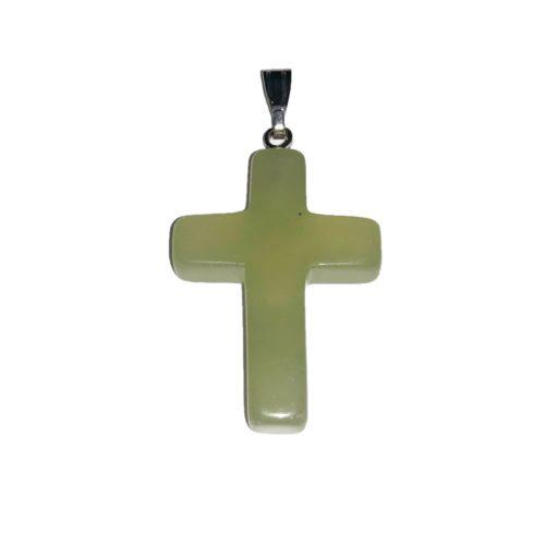 pendentif jade vert croix