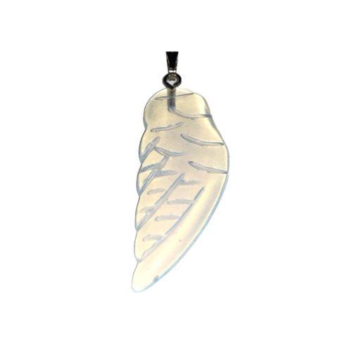 synthetic opal angel wing pendant